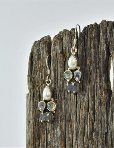 Pearl Moonstone Labradorite Earrings