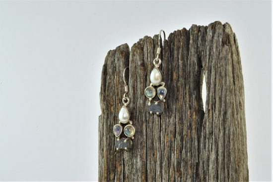 Pearl Moonstone Labradorite Earrings