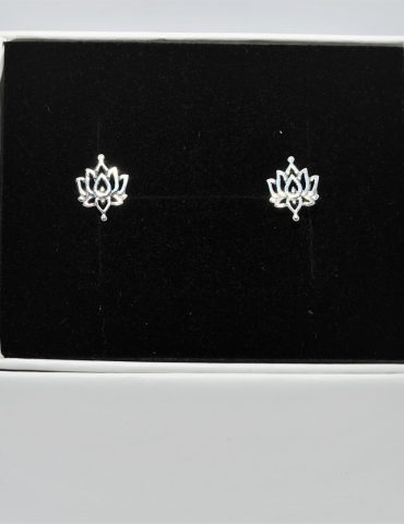 Lotus Flower Earrings Sterling Silver Studs