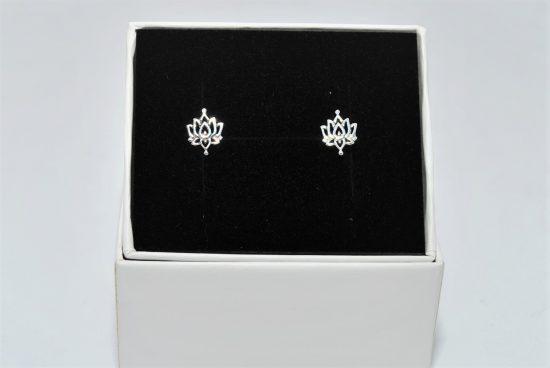Lotus Flower Earrings Sterling Silver Studs