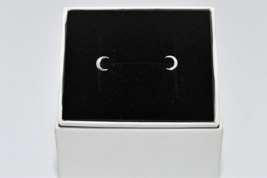 Crescent Moon Earrings Sterling Silver Studs