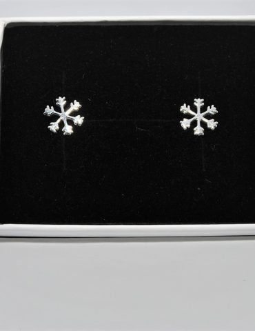 Snowflake Earrings Sterling Silver Studs