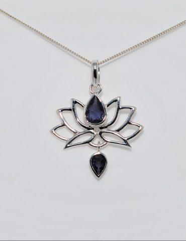 Lotus Flower Pendant Iolite