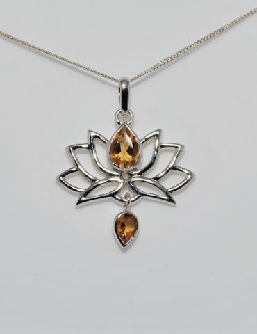 Lotus Flower Pendant Citrine