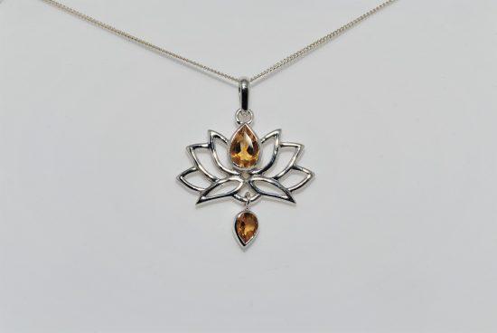 Lotus Flower Pendant Citrine