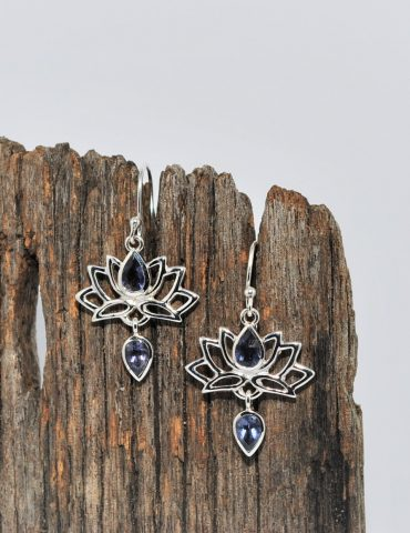 Lotus Flower Earrings Iolite