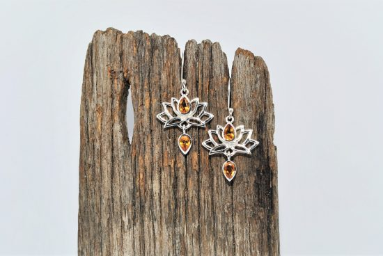 Lotus Flower Earrings Citrine