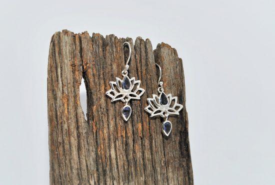 Lotus Flower Earrings Iolite