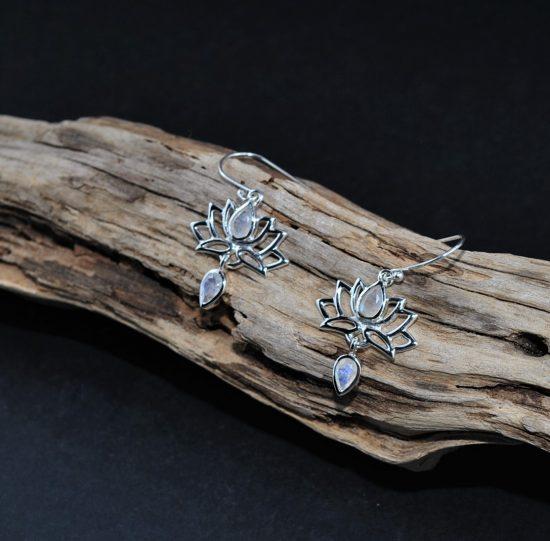 Moonstone Lotus Flower Earrings