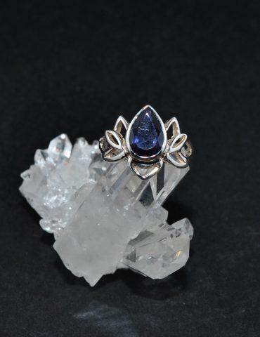 Iolite Lotus Flower Ring