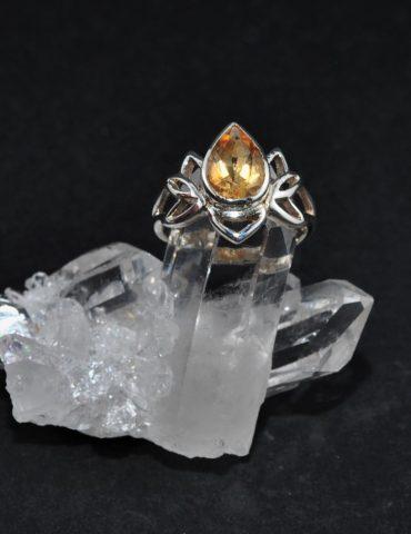 Citrine Lotus Flower Ring