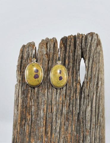 Serpentine and Stichtite Earrings