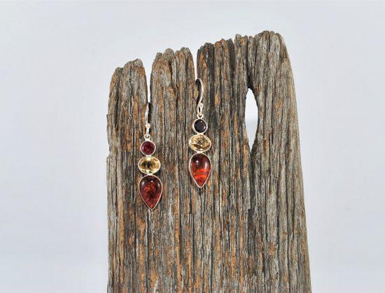 Garnet Citrine Amber Earrings